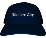 Boulder City Nevada NV Old English Mens Trucker Hat Cap Navy Blue