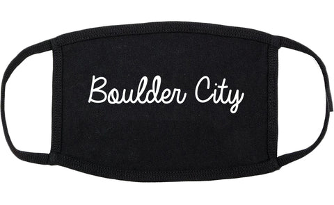 Boulder City Nevada NV Script Cotton Face Mask Black