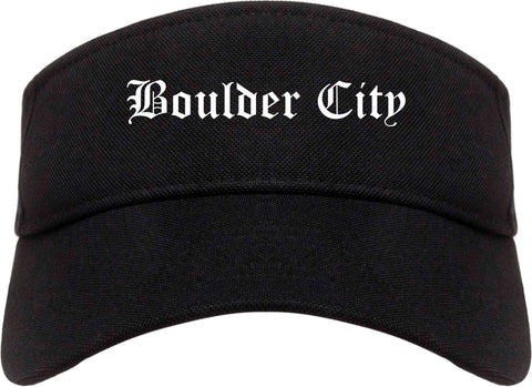 Boulder City Nevada NV Old English Mens Visor Cap Hat Black