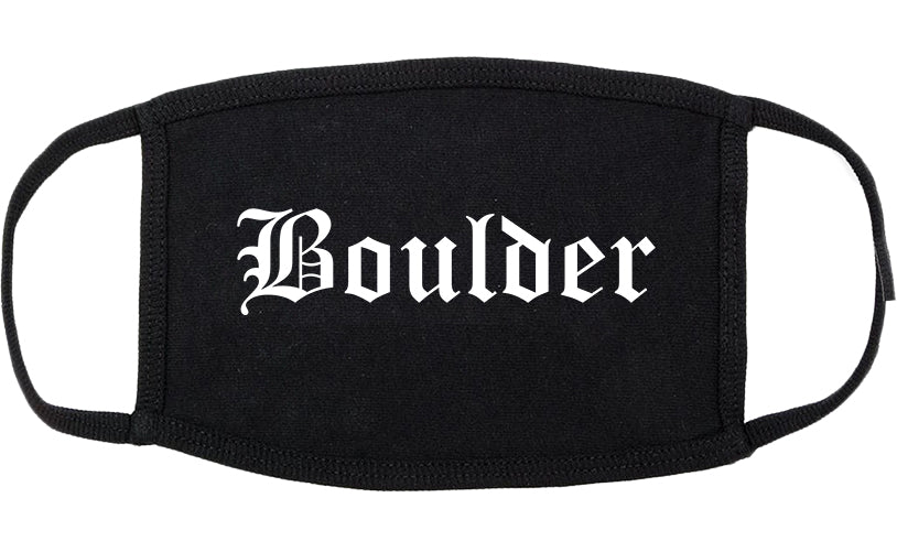 Boulder Colorado CO Old English Cotton Face Mask Black