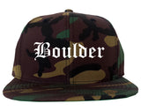 Boulder Colorado CO Old English Mens Snapback Hat Army Camo