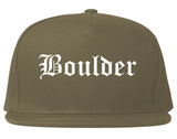 Boulder Colorado CO Old English Mens Snapback Hat Grey