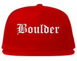 Boulder Colorado CO Old English Mens Snapback Hat Red