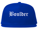 Boulder Colorado CO Old English Mens Snapback Hat Royal Blue