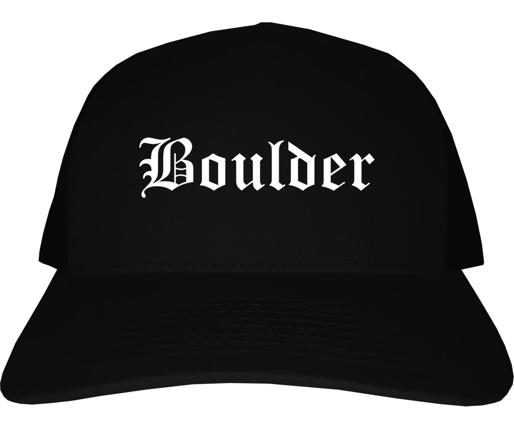 Boulder Colorado CO Old English Mens Trucker Hat Cap Black