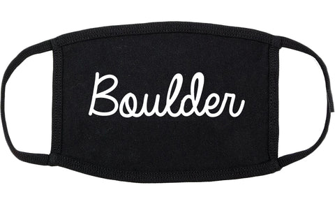 Boulder Colorado CO Script Cotton Face Mask Black