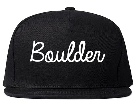 Boulder Colorado CO Script Mens Snapback Hat Black