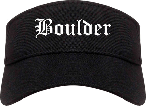 Boulder Colorado CO Old English Mens Visor Cap Hat Black