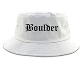 Boulder Colorado CO Old English Mens Bucket Hat White