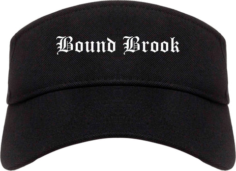 Bound Brook New Jersey NJ Old English Mens Visor Cap Hat Black