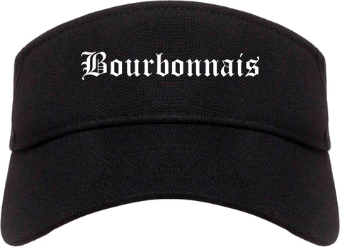 Bourbonnais Illinois IL Old English Mens Visor Cap Hat Black
