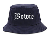 Bowie Maryland MD Old English Mens Bucket Hat Navy Blue