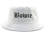 Bowie Maryland MD Old English Mens Bucket Hat White