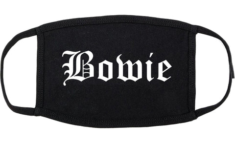 Bowie Texas TX Old English Cotton Face Mask Black