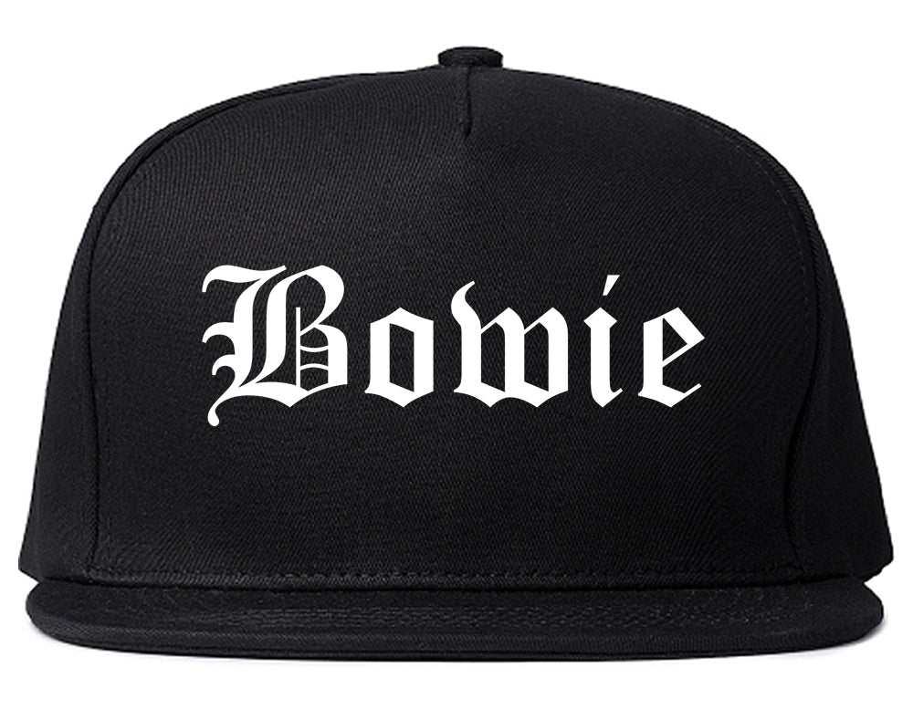 Bowie Texas TX Old English Mens Snapback Hat Black