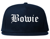 Bowie Texas TX Old English Mens Snapback Hat Navy Blue