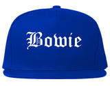 Bowie Texas TX Old English Mens Snapback Hat Royal Blue