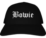 Bowie Texas TX Old English Mens Trucker Hat Cap Black