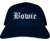 Bowie Texas TX Old English Mens Trucker Hat Cap Navy Blue