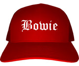 Bowie Texas TX Old English Mens Trucker Hat Cap Red