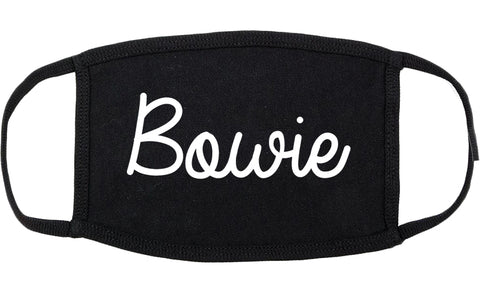 Bowie Texas TX Script Cotton Face Mask Black