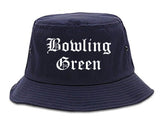 Bowling Green Missouri MO Old English Mens Bucket Hat Navy Blue