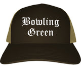Bowling Green Missouri MO Old English Mens Trucker Hat Cap Brown