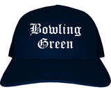Bowling Green Missouri MO Old English Mens Trucker Hat Cap Navy Blue
