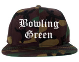 Bowling Green Ohio OH Old English Mens Snapback Hat Army Camo