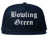 Bowling Green Ohio OH Old English Mens Snapback Hat Navy Blue