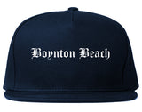Boynton Beach Florida FL Old English Mens Snapback Hat Navy Blue