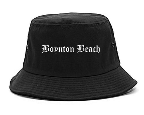 Boynton Beach Florida FL Old English Mens Bucket Hat Black