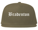 Bradenton Florida FL Old English Mens Snapback Hat Grey