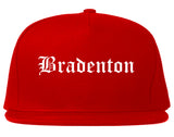 Bradenton Florida FL Old English Mens Snapback Hat Red