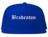 Bradenton Florida FL Old English Mens Snapback Hat Royal Blue