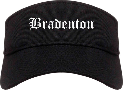 Bradenton Florida FL Old English Mens Visor Cap Hat Black