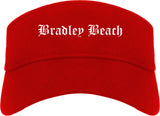 Bradley Beach New Jersey NJ Old English Mens Visor Cap Hat Red