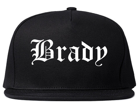 Brady Texas TX Old English Mens Snapback Hat Black