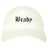 Brady Texas TX Old English Mens Dad Hat Baseball Cap White