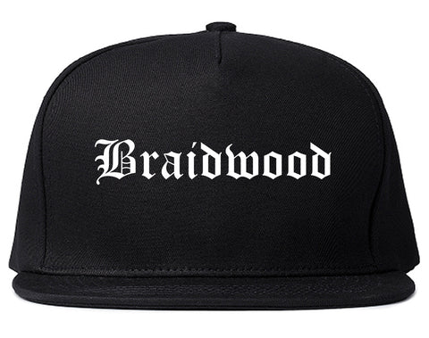 Braidwood Illinois IL Old English Mens Snapback Hat Black
