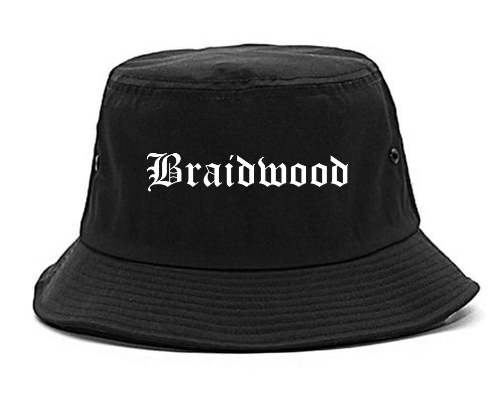 Braidwood Illinois IL Old English Mens Bucket Hat Black
