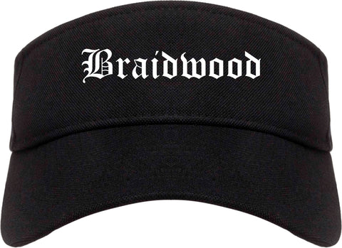 Braidwood Illinois IL Old English Mens Visor Cap Hat Black