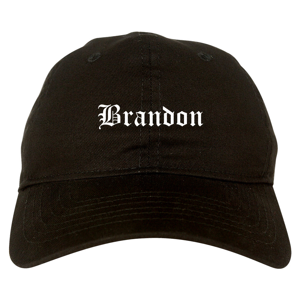 Brandon South Dakota SD Old English Mens Dad Hat Baseball Cap Black