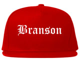 Branson Missouri MO Old English Mens Snapback Hat Red