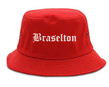 Braselton Georgia GA Old English Mens Bucket Hat Red