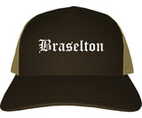 Braselton Georgia GA Old English Mens Trucker Hat Cap Brown