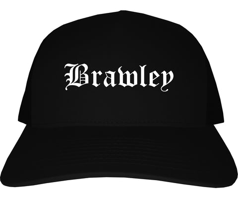 Brawley California CA Old English Mens Trucker Hat Cap Black