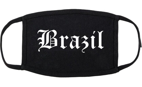 Brazil Indiana IN Old English Cotton Face Mask Black