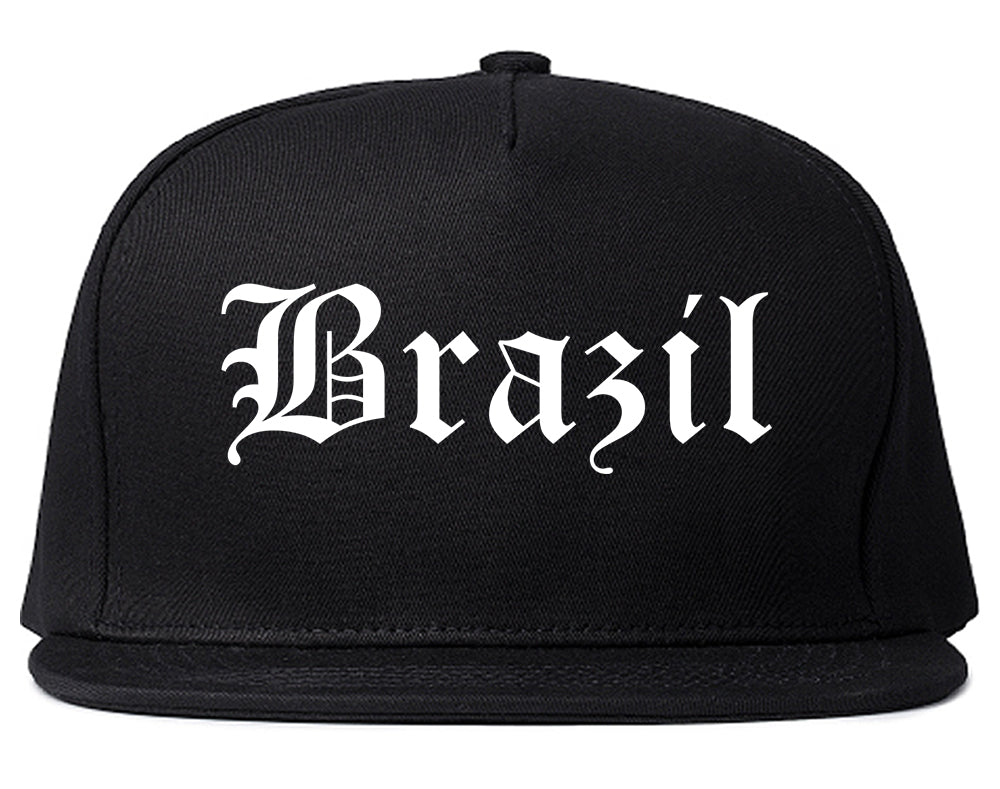 Brazil Indiana IN Old English Mens Snapback Hat Black