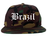 Brazil Indiana IN Old English Mens Snapback Hat Army Camo
